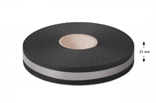 Econyl® Gurtband, recycelt, reflektierend, schwarz 25 mm
