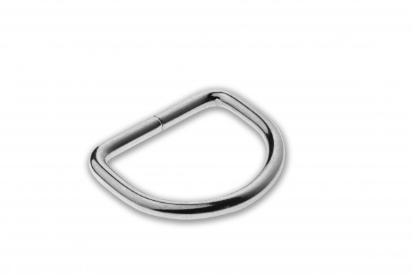 D-ring, Stahl, verschweisst, verchromt, silbern, 26 x 3,8 mm