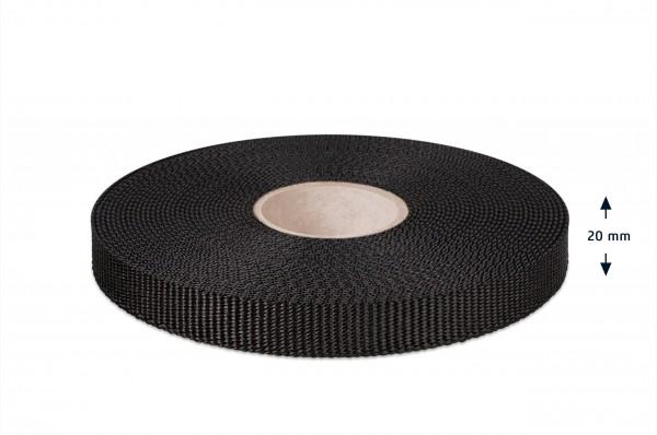 Gurtband für Hundeleinen, schwarz 20 mm