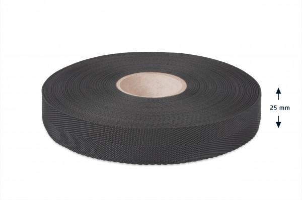 Econyl Einfaßband Fischgrät recycelt schwarz 25 mm