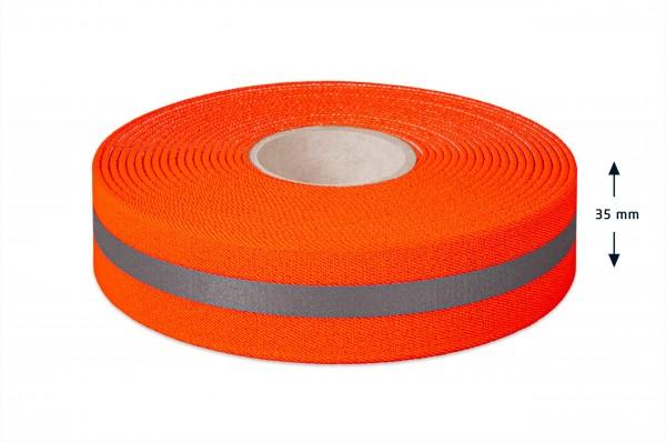 Warnband elastisch, 35 mm, mit Reflexstreifen