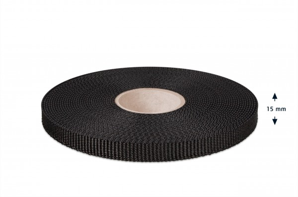 Gurtband für Hundeleinen, schwarz 15 mm