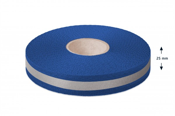 Econyl® Gurtband, recycelt, reflektierend, royalblau553 25 mm