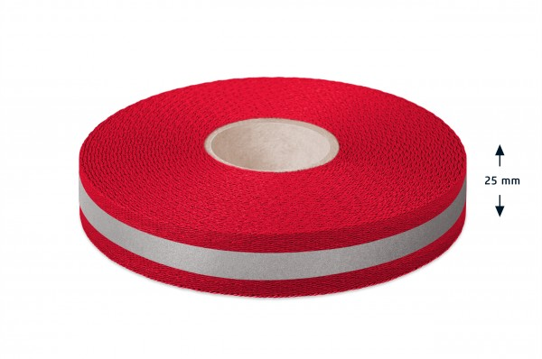 Econyl® Gurtband, recycelt, reflektierend, rot421 25 mm