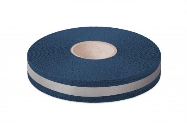 Econyl® Gurtband, recycelt, reflektierend, marine523 25 mm