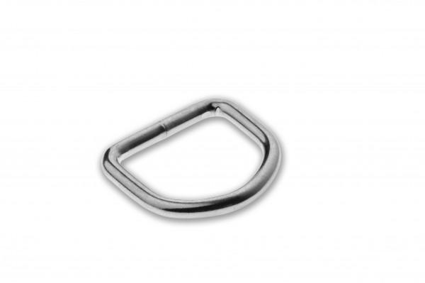 D-ring, Stahl, verschweisst, verchromt, silbern, 20 x 3,4 mm