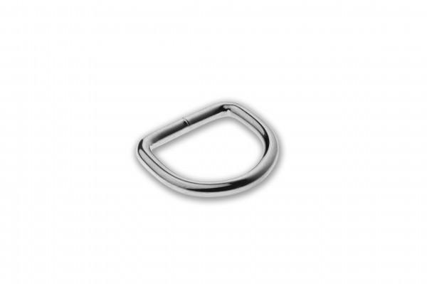 D-ring, Stahl, verschweisst, verchromt, silbern, 16 x 2,6 mm