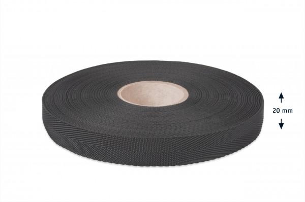 Econyl Einfaßband Fischgrät recycelt schwarz 20 mm