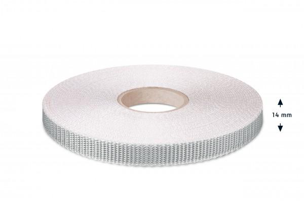Rolladen-Gurtband, grau-rohweiss, 14 mm