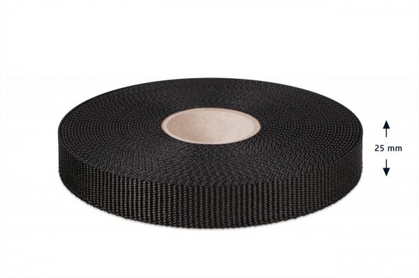 Gurtband für Hundeleinen, schwarz 25 mm